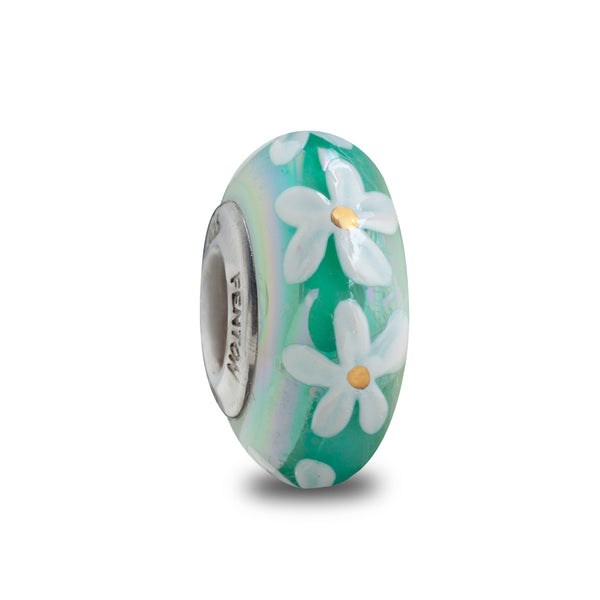 """Mint Daisies"" Hand Painted Bead"