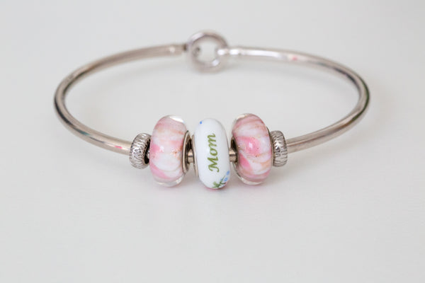 Mother's Day 3 Bead & Silver Bangle Bundle