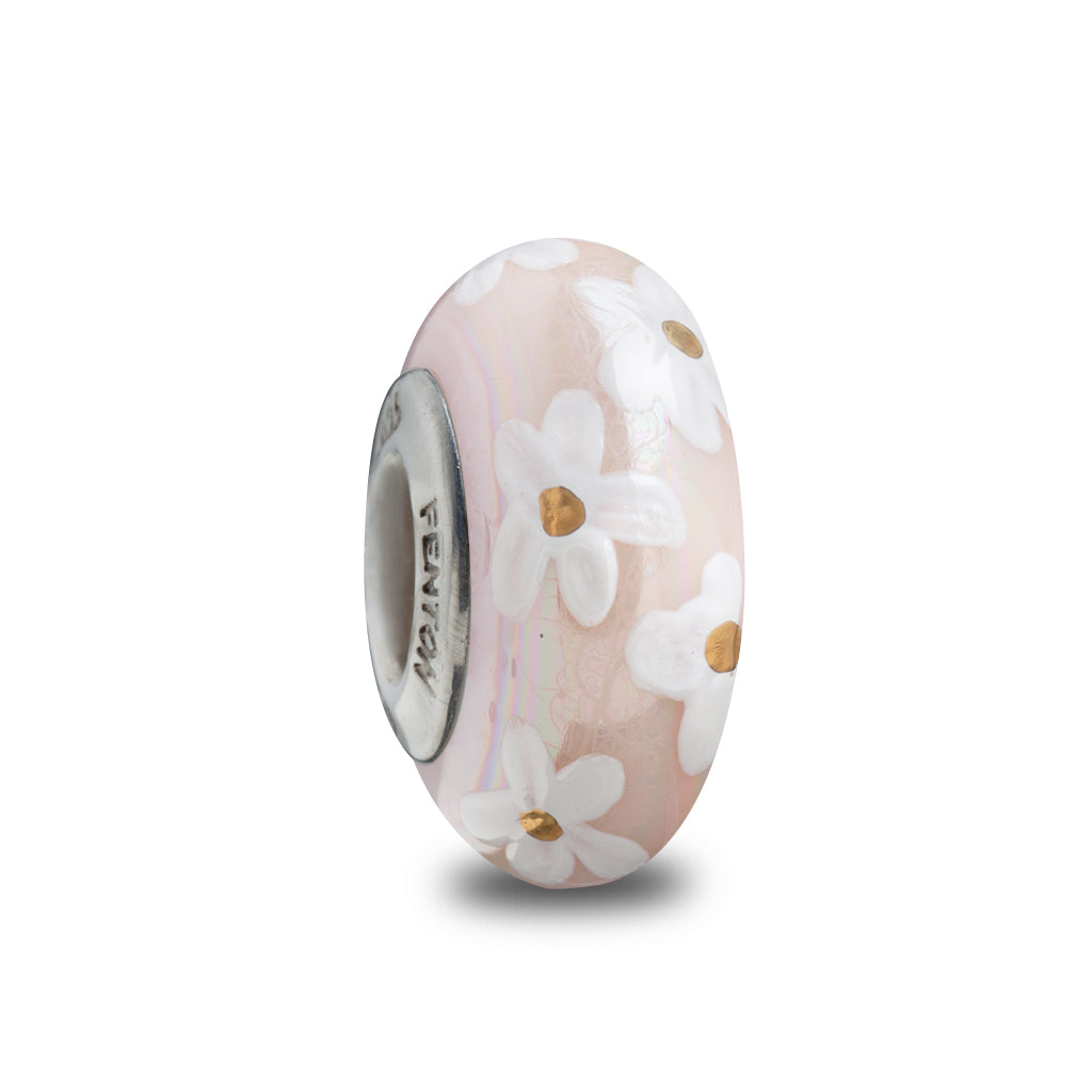 """Pearly Petals""  Hand Painted Bead"