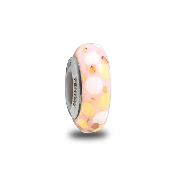 """Pink Confetti Pop"" Hand Decorated Bead"