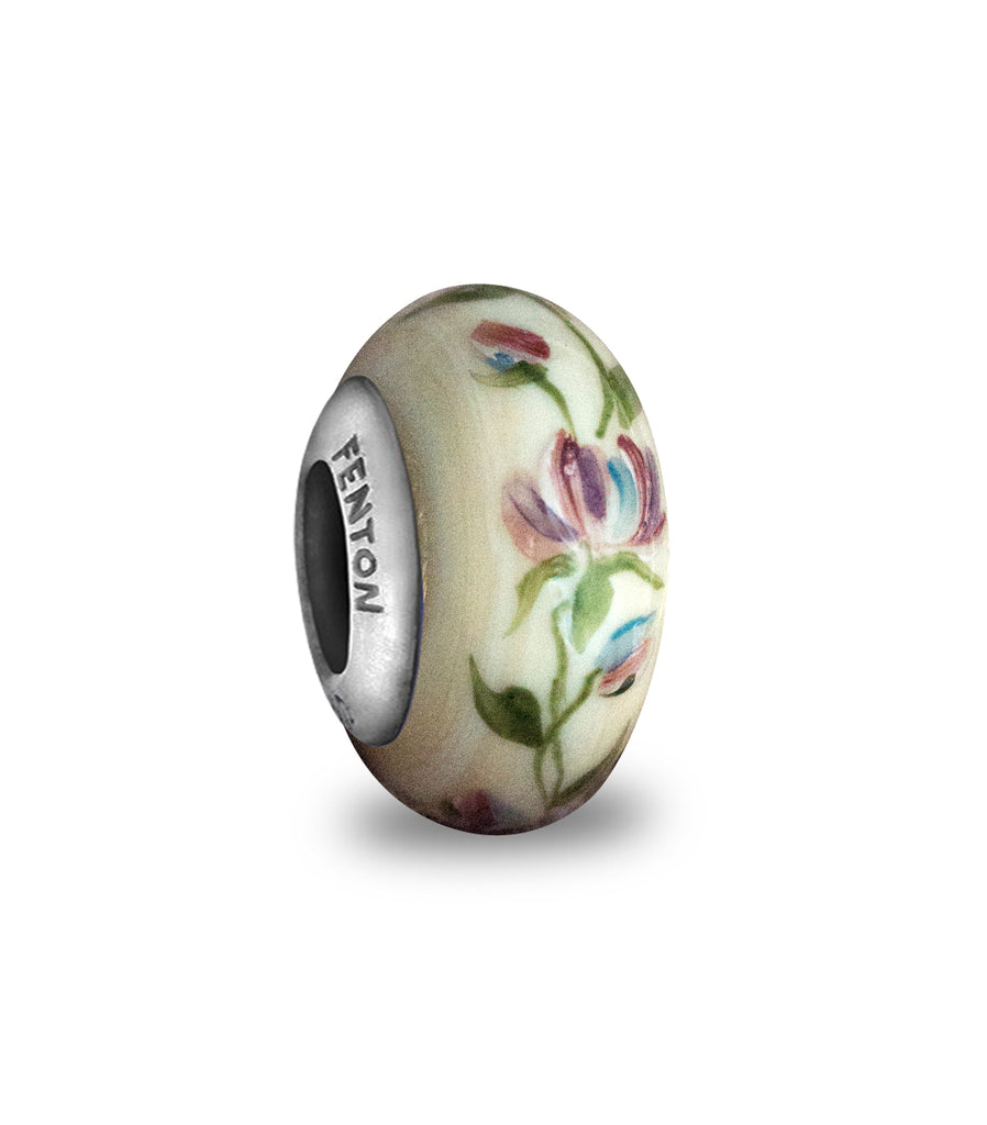 """Rambling Rose"" Hand Decorated Glass Bead"