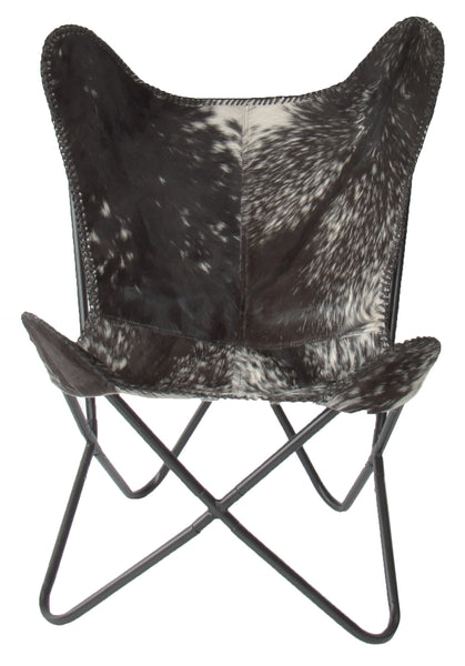 NuBuck Top Grain Leather Butterfly Chair Black Splotch Skycarte UK – White Leather Butterfly Chair