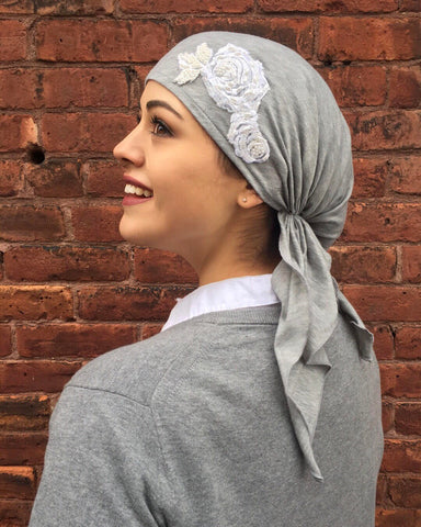 Grey Jersey Knit Pre-Tied Scarf with Flower Embellishment - Uptown Girl Headwear