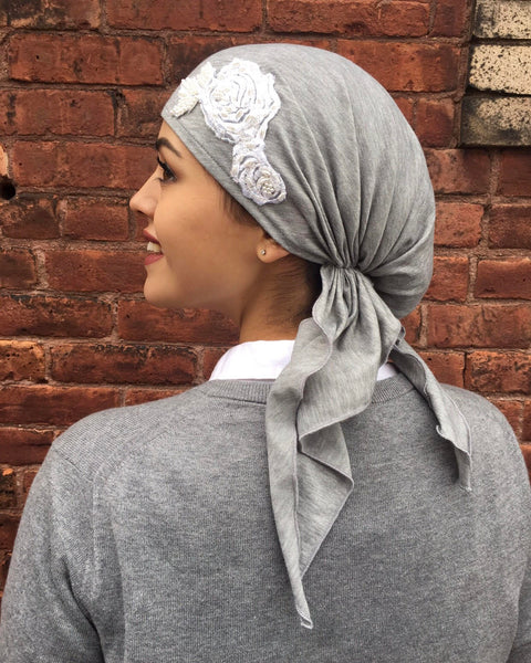 Grey Jersey Knit Pre-Tied Scarf with Flower Embellishment