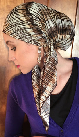 Hat To Conceal Hair Pre Tied Head Scarf For Women Brown Hijab Hair Wrap. Made in USA - Uptown Girl Headwear