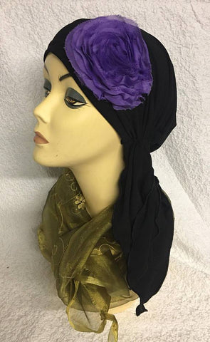 New Slip On Style Soft Spandex Head Scarf Hair Wrap With Shabby Chic Flower - Uptown Girl Headwear