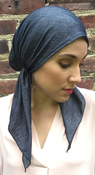 Blue Denim Vintage Style Jersey Knit Pre-Tied Head Scarf - Uptown Girl Headwear