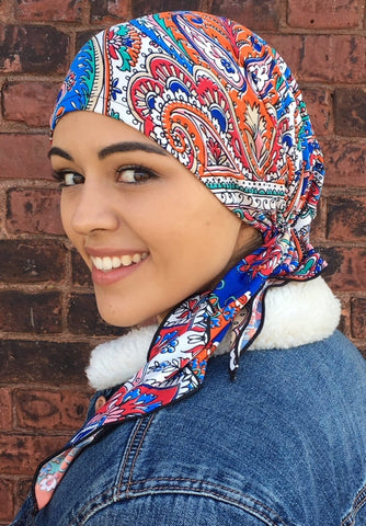 Tie Back Hat To Conceal Hair Multicolor Pre-Tied Stretchy Fashion Head Scarf Tichel Turban Hijab Beanie - Uptown Girl Headwear