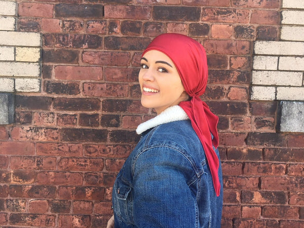 All In One Spring Summer Gift Red Stretchy Shimmer Pre Tied Headscarf Tichel Hijab Head Wrap Hair Cover For Women - Uptown Girl Headwear