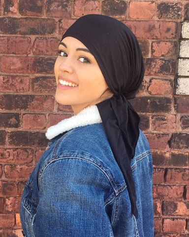 Black Head Scarf Lightweight Spandex Pre-Tied Head Hair Covering - Uptown Girl Headwear