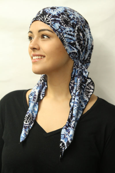 Tie Back Hat Scrub Cap For Doctor Nurse No Fuss Easy Slip On Style Pre Tied Fitted Tie Dye Head Scarf - Uptown Girl Headwear