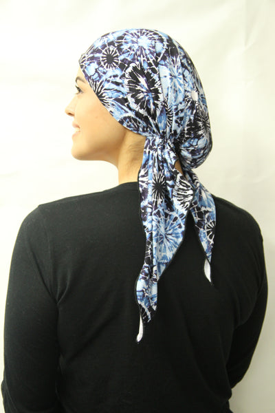 New Slip On Style Pre Tied Fitted Tie Dye Head Scarf - Village Hipster - Uptown Girl Headwear
