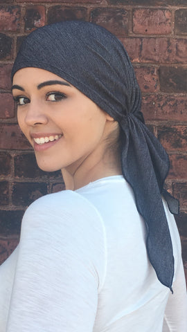 Denim Tie Back Hat Blue Soft Comfortable Stretchy Pre-Tied Modern Hair Wrap - Uptown Girl Headwear