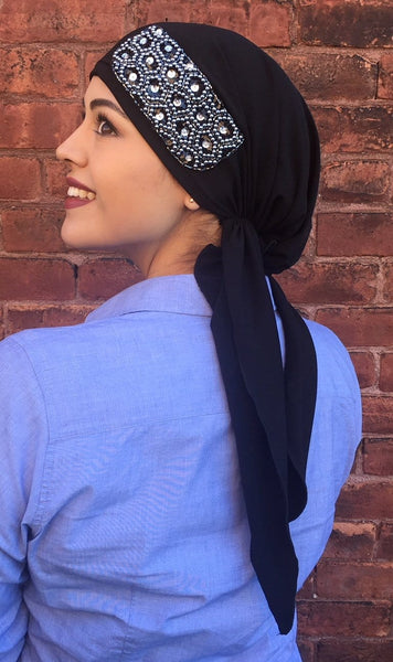 New Slip On Style Black Soft Spandex Pre-Tied Scarf With Silver Embellishment - Uptown Girl Headwear