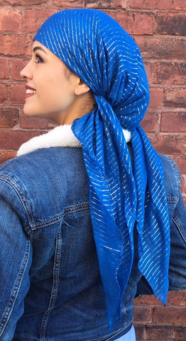 New Slip On Style 100% Cotton Bandana Chemo Head Scarf With Metallic Design - Uptown Girl Headwear