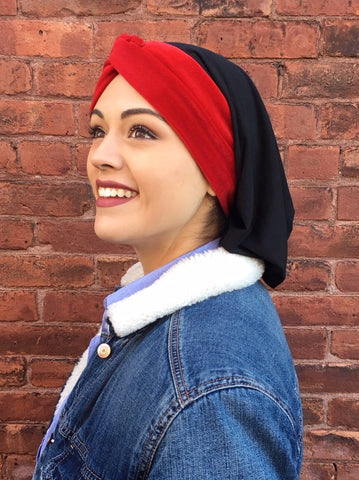 Sale Red Winter Turban Snood Velvet Passion & Love Hair Renaissance Style Head wrap. Made in USA - Uptown Girl Headwear