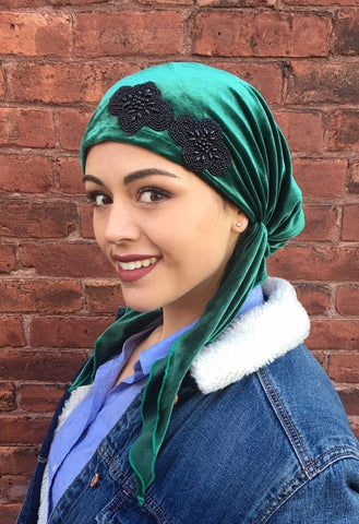 New Slip On Style Lightweight Green Velvet Pre-Tied Head Scarf - Uptown Girl Headwear
