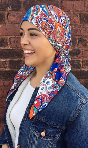 Orange Multicolor Pre-Tied Stretchy Headscarf - Uptown Girl Headwear
