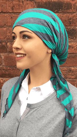 Green & Charcoal Grey Striped Pre-tied Head Scarf - Uptown Girl Headwear