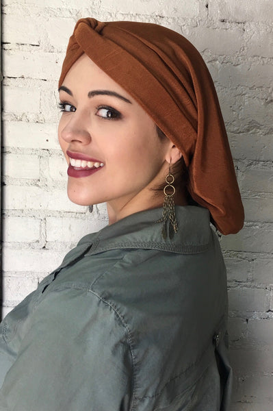 Copper Lycra Classic Snood Tichel Hijab For Jewish Muslim Christian and African Women Of Faith - Uptown Girl Headwear