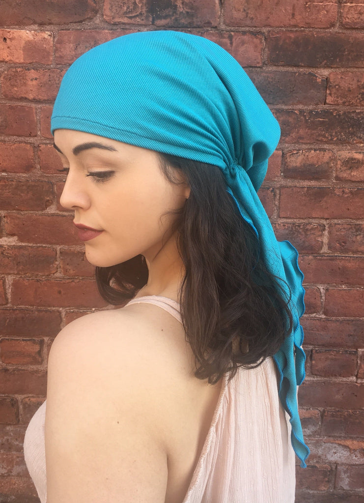 Tie Back Scarf For Nurse Soft Ribbed Turqiouse Pre-Tied Headscarf - Uptown Girl Headwear