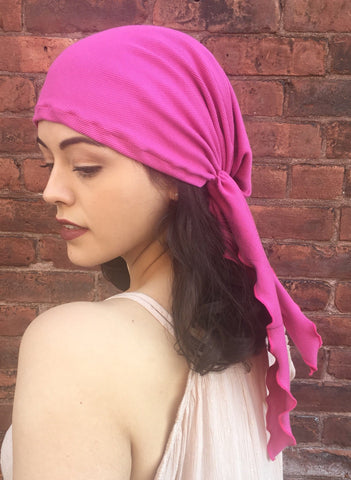 Tie Back Hat Scarf Covering For Women Without Hair Or With Long Hair Soft Pink Pre-Tied Bandana Hijab Tichel - Uptown Girl Headwear