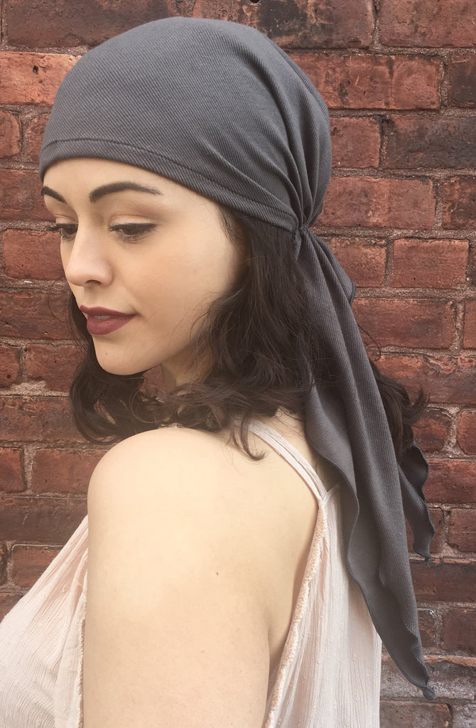 2021 Essential Headwear For Women. Grey Ribbed Pre-Tied Headscarf - Uptown Girl Headwear