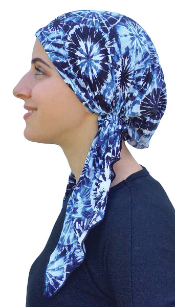 Essential Hat Scrub Cap For Doctor Nurse No Fuss Easy Slip On Style Pre Tied Fitted Tie Dye Head Scarf - Uptown Girl Headwear