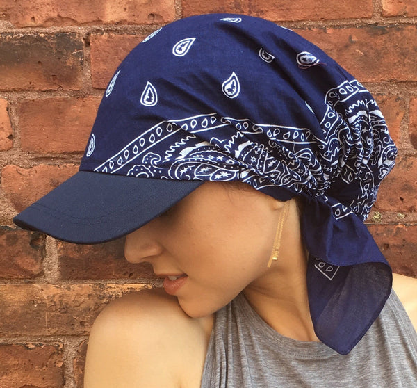 Pre-Tied Sun Visor With Cotton Bandana Back - Uptown Girl Headwear