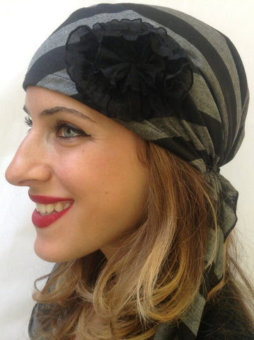 The Duchess Black & Grey Pre-Tied Head Scarf With 2 Black Shabby Chic Flowers - Uptown Girl Headwear