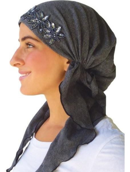 Cotton /Spandex Charcoal Grey Fancy Pre Tied Head Scarf, Wrap, Chemo Scarf, Hair Loss, Modern BEST SELLING Fashionable Bandana Head Covering - Uptown Girl Headwear