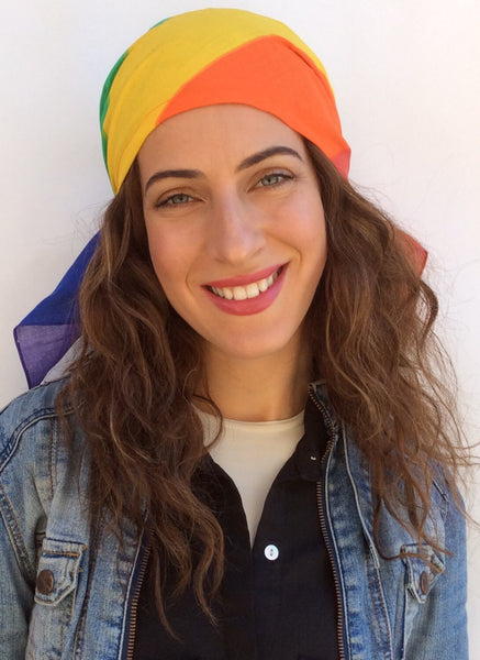 Gay Pride Scarf PRE TIED FITTED Bandana Head Scarf Rainbow Head Wrap - Uptown Girl Headwear