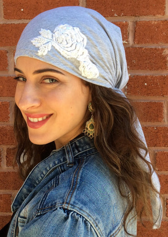 Light Grey Pre-Tied Head Scarf With Flower Embellishment - Uptown Girl Headwear