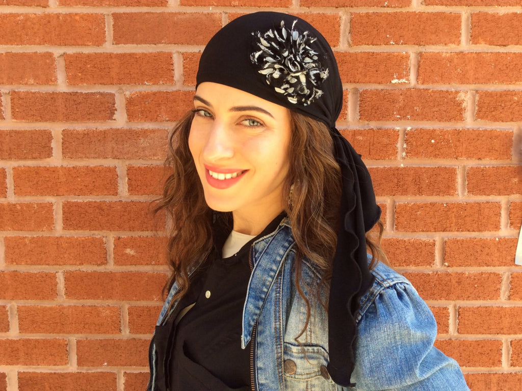 Black Cotton Lycra Dressy Pre-Tied Scarf From Our Shabby Chic Flower Collection - Uptown Girl Headwear
