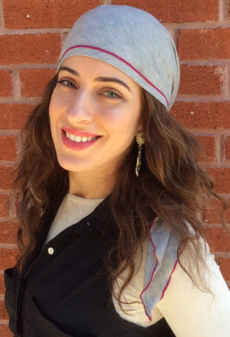 Sporty Grey Knit Pre-Tied Head Scarf With Pink Finishing - Uptown Girl Headwear