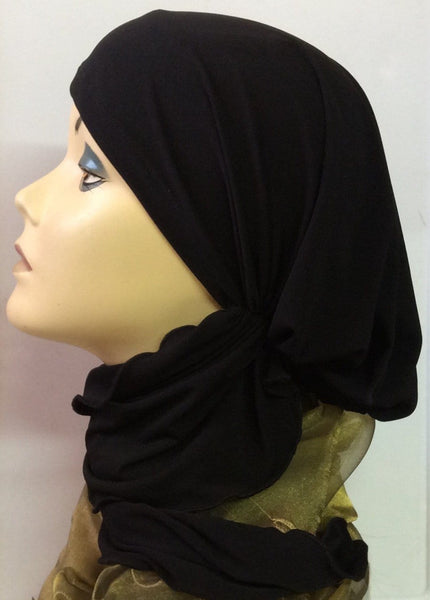 Black Head Scarf For Muslim Women Hijab New Slip On Style Pre-Tied Soft Spandex Comfortable Head Scarf (Extra Long Ties) - Uptown Girl Headwear