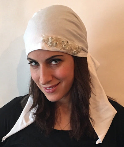 White Cotton Pre-Tied Head Scarf With Diamond Pearl Applique - Uptown Girl Headwear