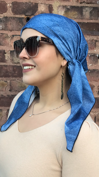 Swim Cap Denim Blue Head Wrap Tichel Hair Scarf For Natural Hair For Women. Has Non slip inserted band. Made in USA - Uptown Girl Headwear