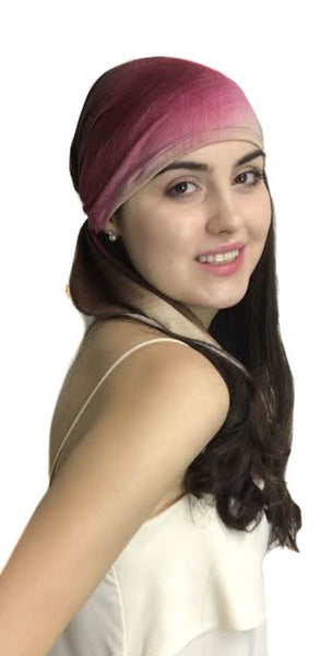 Best Seller! Cocoa Raspberry SMALL Headsize Lightweight Tie Dye Hijab Pre-Tied Head Scarf - Uptown Girl Headwear