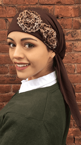 Hat To Conceal Hair Brown Knit Floral Embellished Pre-Tied Head Scarf - Uptown Girl Headwear
