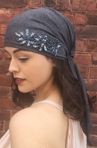 Uptown Girl Headwear Charcoal Grey Fancy Pre-Tied Head Scarf For Women Who Wear Tichels Hijabs Kerchiefs & Head Wraps - Uptown Girl Headwear