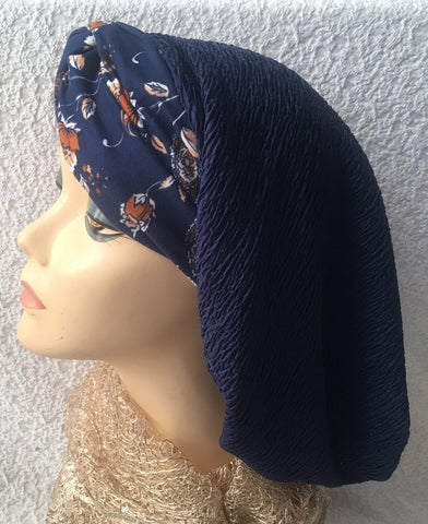 Blue Snood Hijab Turban Tichel | Made in USA - Uptown Girl Headwear
