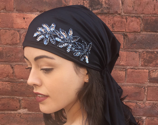 New Slip On Style Pre-Tied Head Scarf With Chic Sequin Applique in 6 color choices - Uptown Girl Headwear