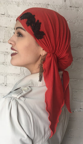 New Slip On Style Pre Tied Head Scarf Hair Wrap Red Orange - Uptown Girl Headwear