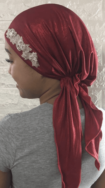 Valentines Day Gift Box Bundle Of Three Red Head Coverings Lightweight Hair Scarves Good Chemo Clothing - Uptown Girl Headwear