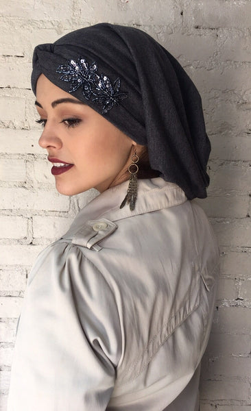 2020 Uptown Girl Headwear Classic Top Knot Snood Turban Appliqued - Uptown Girl Headwear