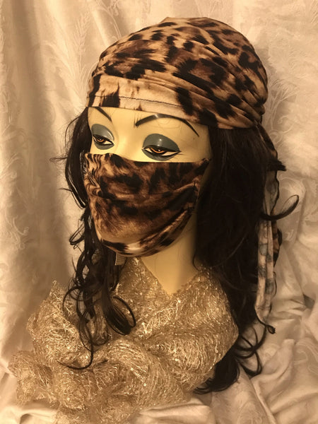 Reusable 2 Layer Face Mask With Soft Fabric & Good Coverage. Animal Print. Made in USA - Uptown Girl Headwear