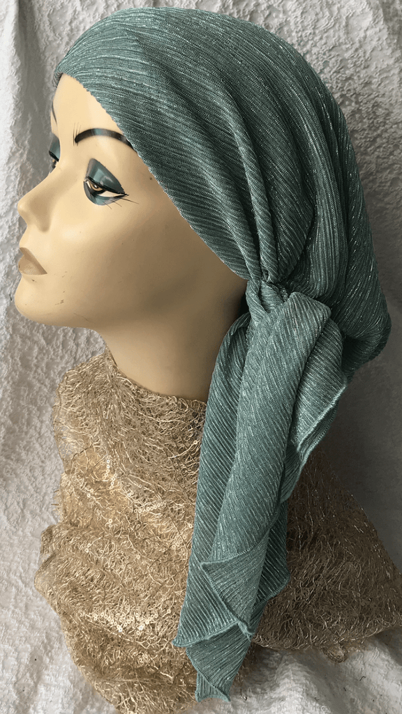 Stunning Green Shimmer Headscarf Hair Wrap Hijab Tichel Kerchief - Uptown Girl Headwear