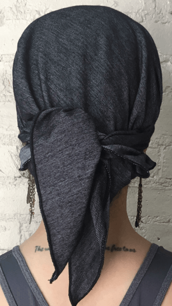 Blue Denim Brooklyn New York Vintage Style Jersey Knit Pre-Tied Head Scarf - Uptown Girl Headwear