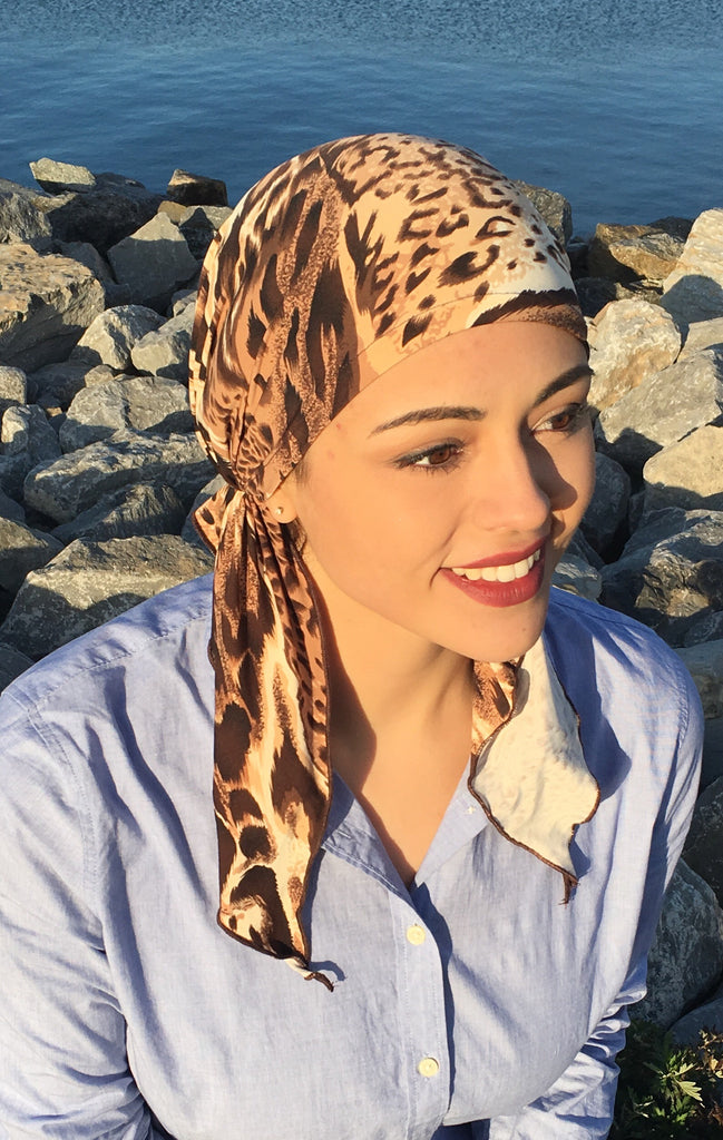 Hot Feminine Sexy Beach Fashion Boho Chic Animal Print Pre-Tied Head Wrap - Uptown Girl Headwear